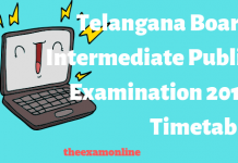 Telangana Board 12th exam 2019 timetable
