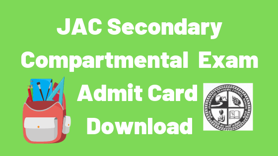 jac secondary compartmental admit card