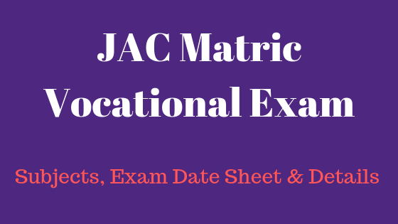 JAC Matric Vocational Exam 2020