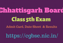CGBSE Class 5th Result Download 2020
